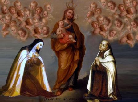 Santa Teresa de Jesús y San Juan de la Cruz a las plantas del Glorioso San José