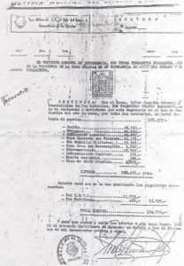 La última nómina de Franco de 168,477 pesetas