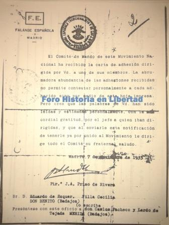Impreso de respuesta a Eduardo Ezquer firmado por José Antonio: 7-noviembre-1933