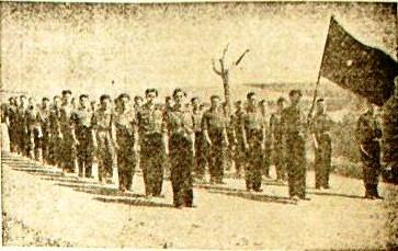 Eduardo Ezquer al frente de las escuadras falangistas de Don Benito