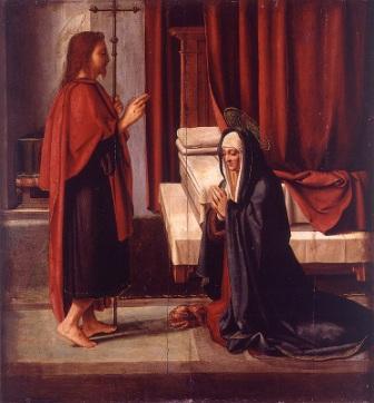 """""""Aparición de Cristo resucitado a la Virgen"""" (Fernando Yáñez)"""