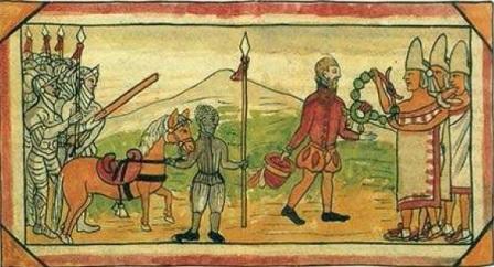 Hernán Cortés acompañado de sus hombres y el negrito ante los indios