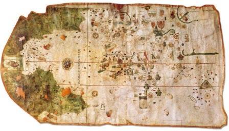 Mapa portulano atlántico de Juan de la Cosa (Cádiz, 1500). Manuscrito coloreado sobre pergamino, 960 x 1830 mm. El navegante cántabro, que acompañó al gran Almirante Cristóbal Colón en su primer viaje, intuía por la imagen de San Cristóbal que en el golfo de México había un paso al Pacífico. Dicha imagen es una muestra más de una esencial religiosidad