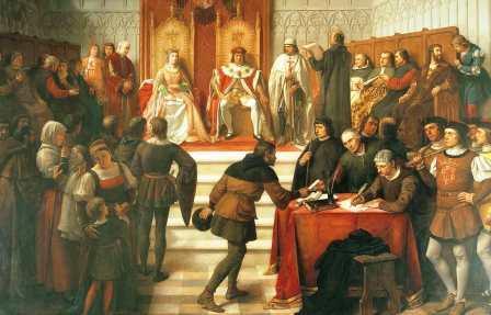 Los Reyes Católicos en el acto de administrar justicia, de Víctor Manzano y Mejorada (1831-1865). Palacio Real de Madrid
