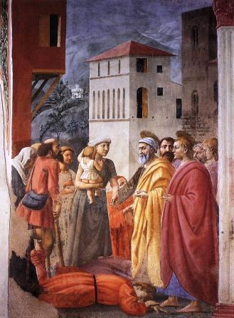 """Masaccio: """"Ananías y Safira"""""""