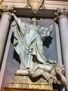 San Ignacio aplastando al hereje Lutero (Iglesia de San Ignacio, Roma).