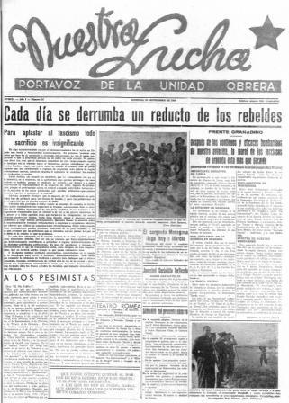 En la página 7 de esta publicación murciana se lee: «Hoy se está organizando de acuerdo con los camaradas de El Palmar y La Alberca un convoy de víveres y ropas para nuestros milicianos del sexto ligero en Espejo al que contribuye el Frente Popular y el Ayuntamiento de Alcantarilla»
