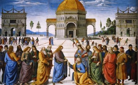 """Pietro Perugino: """"Cristo entregando las llaves a San Pedro"""" (Créditos fotográficos: CC-BY-SA)"""