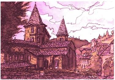 Cahors, una de las localidades francesas por la que pasamos en nuestra ruta hacia Roncesvalles, atravesando el Macizo Central. Cuadro realizado por nuestro compañero del Camino, Ángel Crespo