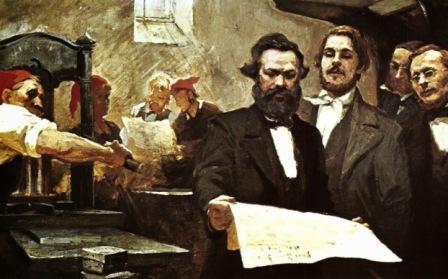 """Chapiro, Marx y Engels en la redacción de la """"Neue Rheinische Zeitung"""""""