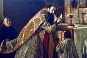 """Fray Juan Rizi: """"San Benito diciendo Misa"""" (1650) Real Academia de Bellas Artes de San Fernando (Madrid)"""
