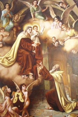 San Simón Stock recibiendo el Escapulario de manos de Nuestra Señora