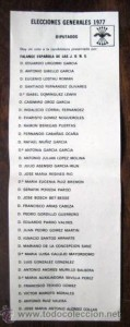 Papeleta Elecciones 1977 FE JONS
