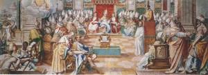 Representación idealizada del Concilio de Nicea (325)