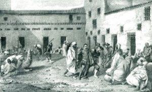 Argel, reconstrucción del baño del Rey. Aguafuerte de Vallejo