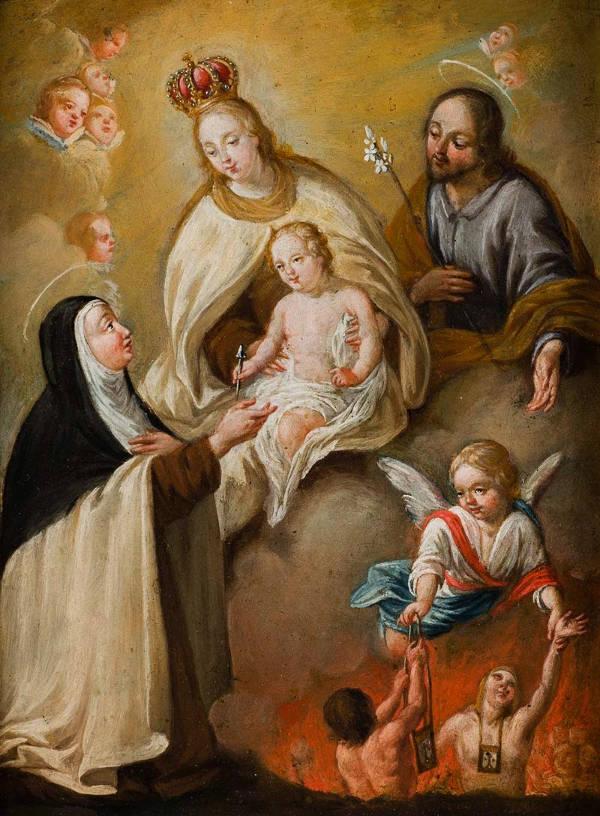 Santa Teresa de Jesús intercediendo por las benditas ánimas del purgatorio