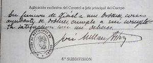 La firma de Millán Astray en el expediente de Agustín Sánchez Echevarría (Archivo Militar de Ávila)