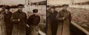 Stalin (en el centro) con Yezhoz a su izquierda. Despues de su asesinato desaparece de la imagen