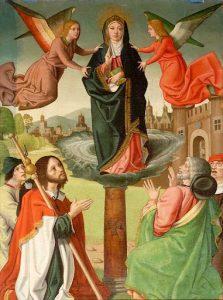 Aparición de la Virgen a Santiago el Mayor en Zaragoza (Virgen del Pilar). Tabla Gótico-Flamenca