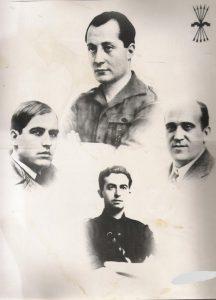 Composición en la que aparece José Antonio junto a Ledesma Ramos (centro, izquierda); Ruiz de Alda (centro, derecha) y Onésimo Redondo