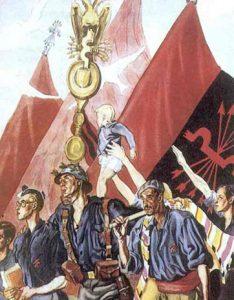 Milicia, estudiantes y campesinos falangistas en dibujo de Sáenz de Tejada